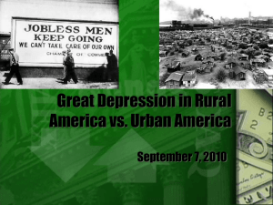 Great Depression in Rural America vs. Urban America