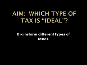 "Aim: Which type of tax is ""ideal""?"