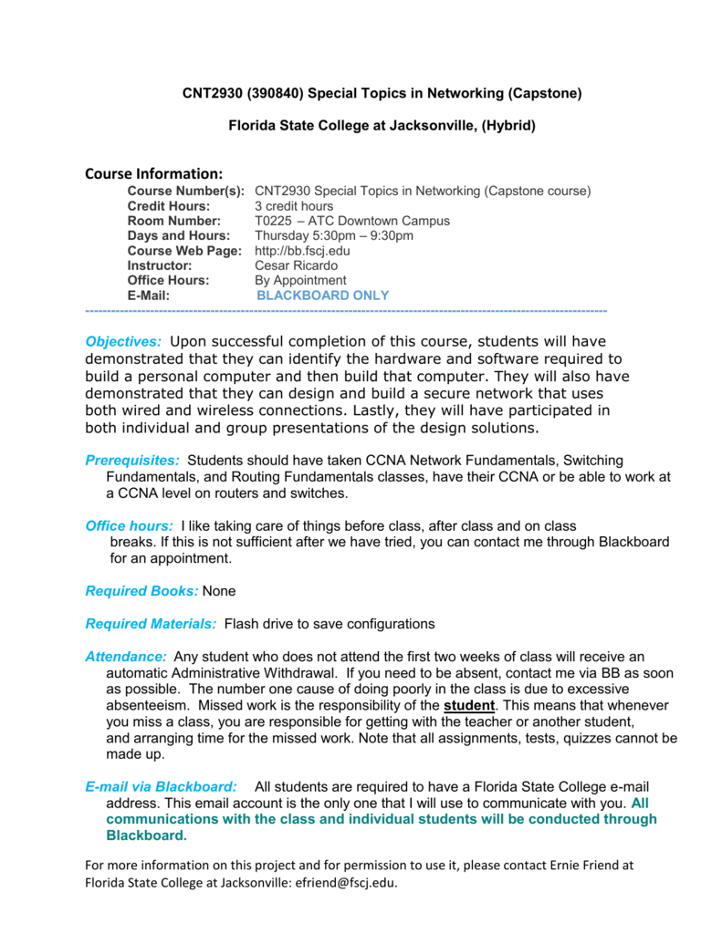 FSCJ Cyber Capstone Syllabus Final