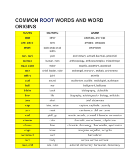 common root words and word origins