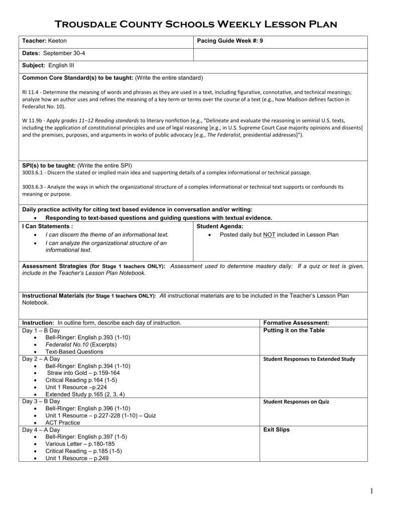 Lesson Plan Template - Trousdale County Schools