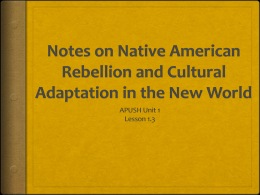 Notes on Native American Rebellion and Cultural Adaptation in the
