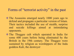 "Forms of ""terrorist activity"" in the past"