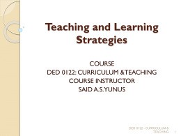 Selecting Teaching and Learning Strategies