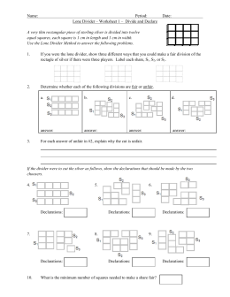 Name: Period: Date: Lone Divider – Worksheet 1 – Divide and