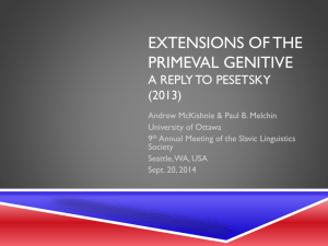 Extensions of the primeval genitive a reply to pesetsky