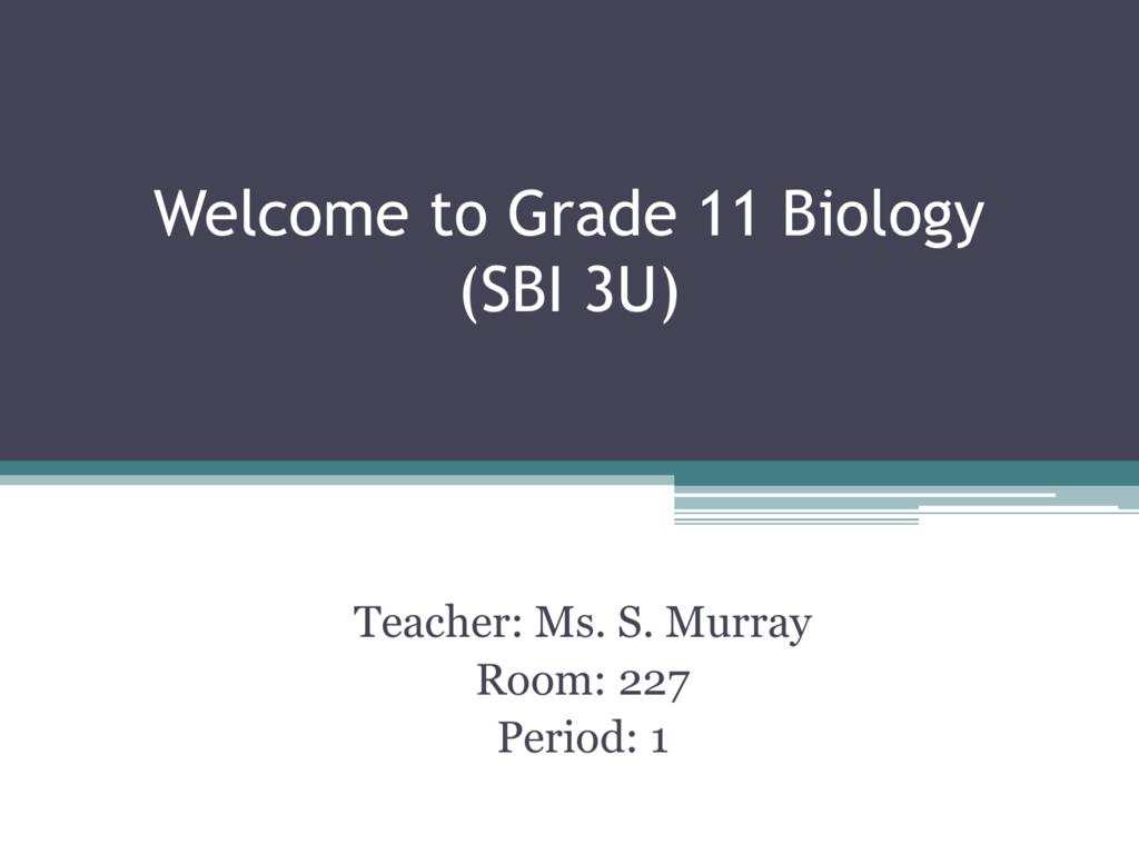 BIOLOGY SBI3U