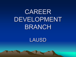 CAREER DEVELOPMENT LAUSD