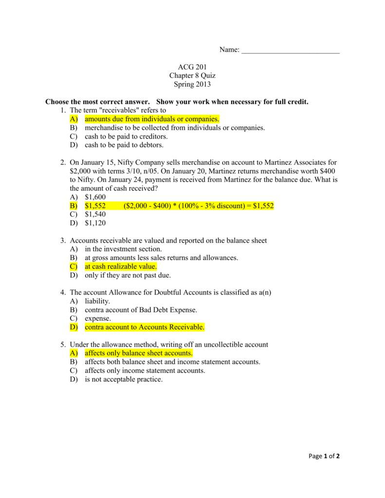 Answers Ch 8 Quiz