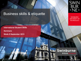Presentation slides  - Swinburne University of Technology