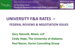 Importance of F&A Rates