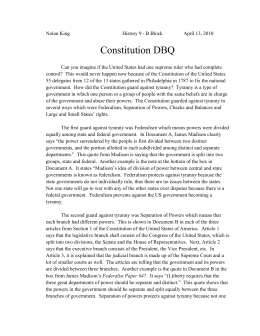 My DBQ for (By th1850's the constitution)