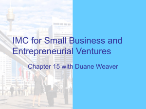 IMC for Small Business and Entrepreneurial Ventures – Chp…