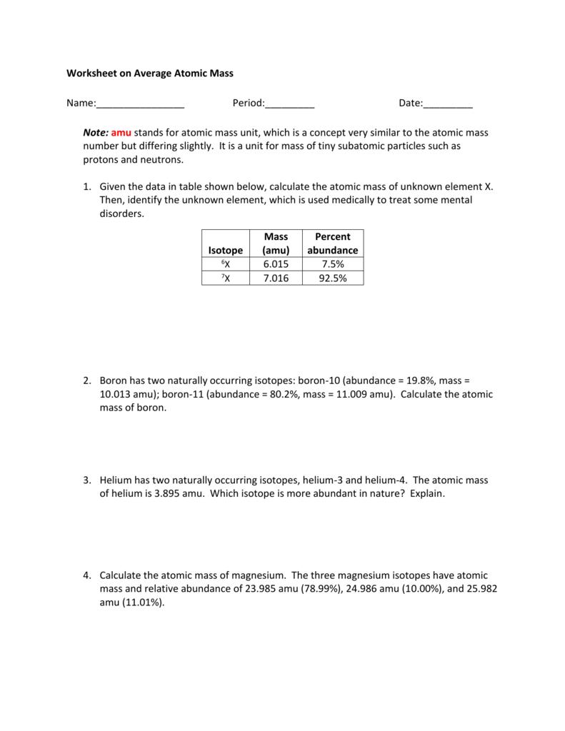 worksheet Atomic Mass Worksheet average atomic mass worksheet