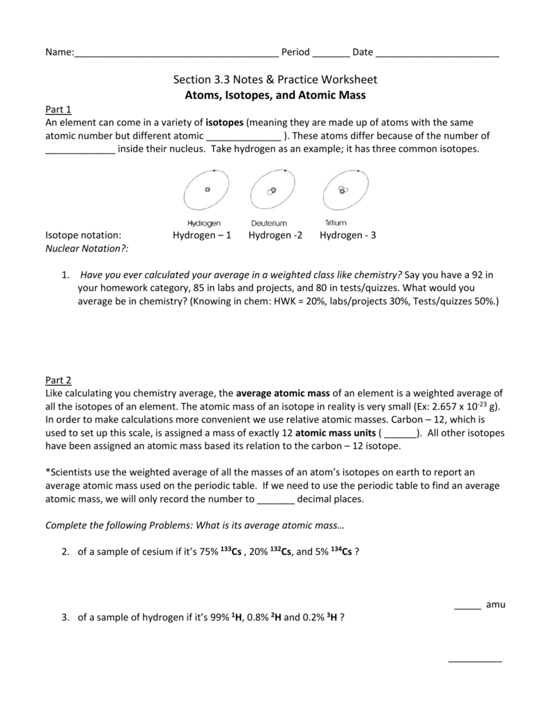 3.3 Notes & Practice WKST - Atoms, Isotopes, and Atomic Mass