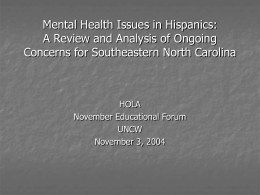 (2004, November). Mental health issues in Hispanics