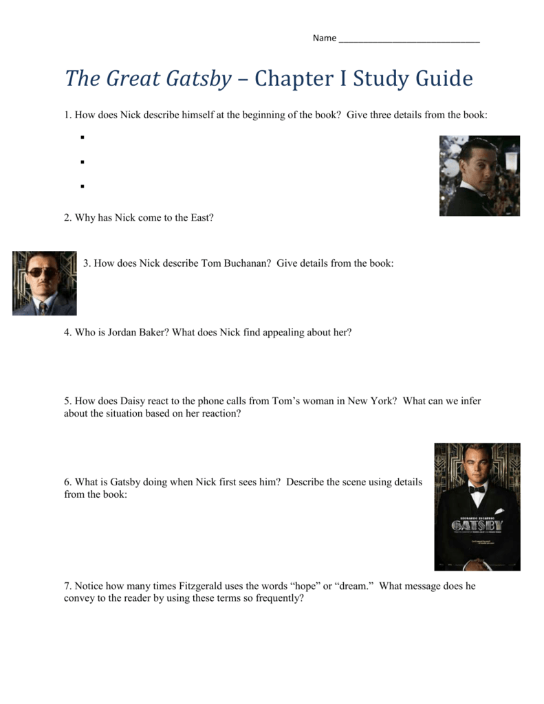 Gatsby study guide questions