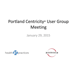 Centricity User Group Meeting Presentation Jan