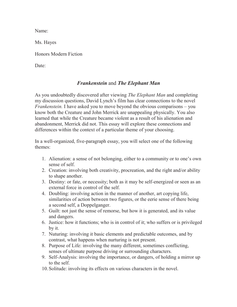 What Is The Thesis Of A Research Essay  Example Of Proposal Essay also Essays On The Yellow Wallpaper Frankenstein And The Elephant Man Essay Short English Essays