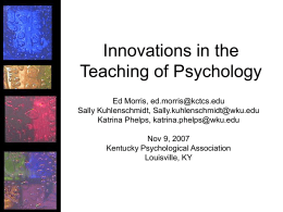 Innovations in the Teaching of Psychology