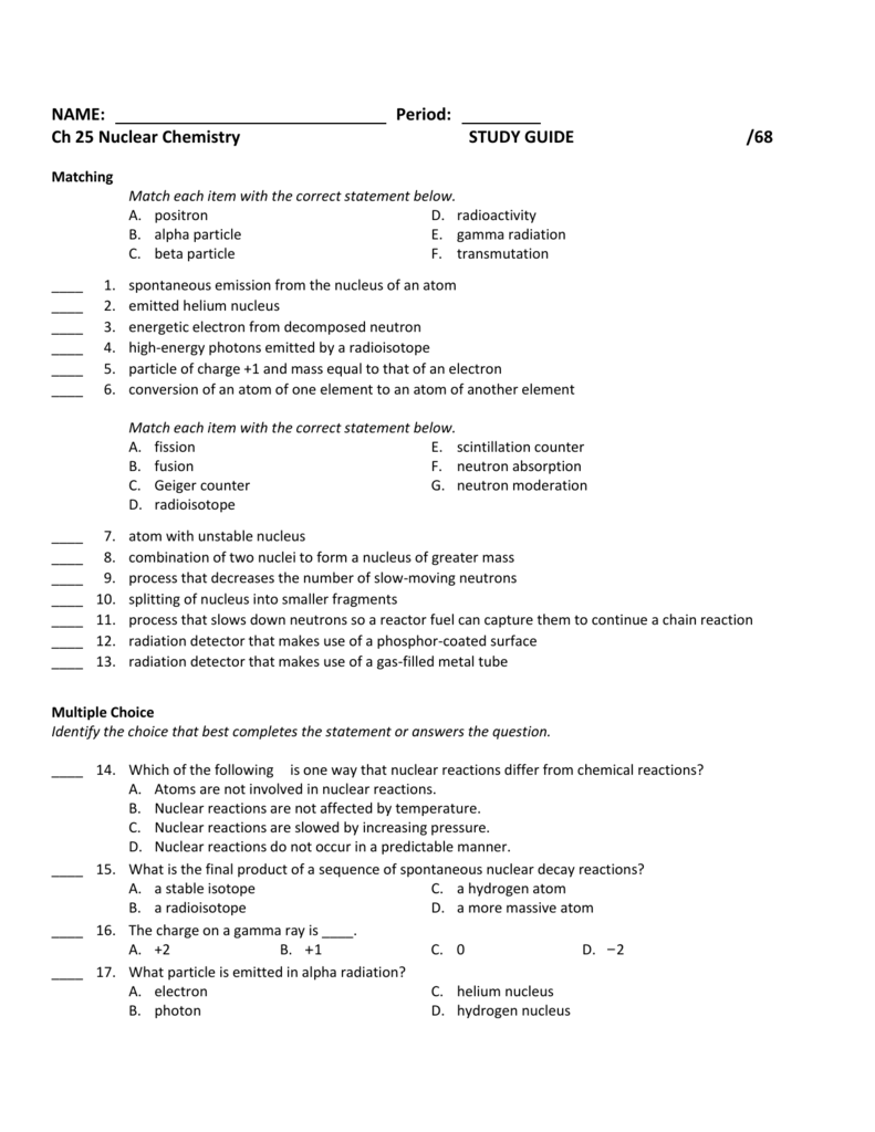 worksheet Chapter 25 Nuclear Chemistry Worksheet ch 25 nucchem