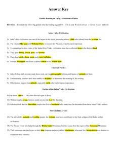 Guided Reading on Early Civilizations of India - Answer