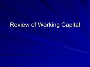 Review of Working Capital