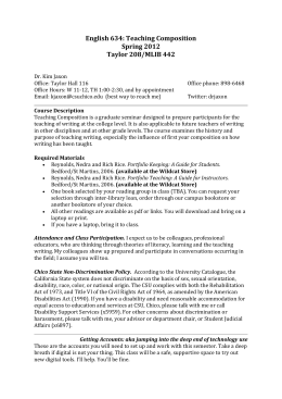 spring syllabus Cs4000 online course syllabus – –spring 2018 page 1of 14 note: assignments turned in after friday, may 18th at 11:59 pm pst will not be accepted for any reason.