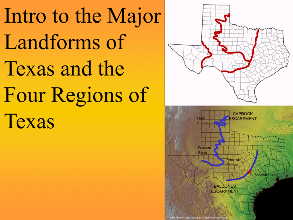 Map Of Texas Landforms.Two Escarpments And Intro To Regions 2