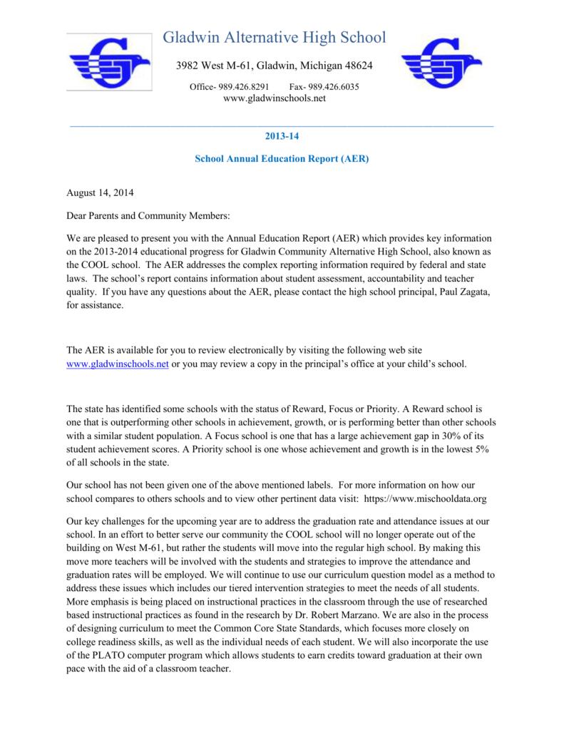 Annual Report Cover Letter - Gladwin Community Schools