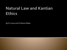 Natural Law and Kantian Ethics