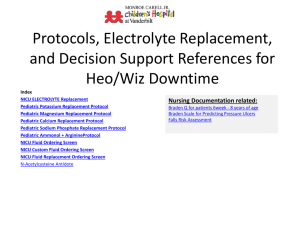 electrolyte replacement protocol during dt