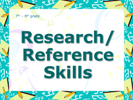Research/Reference Skills