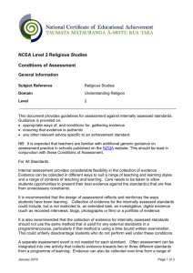 Religious studies Level 2 conditions of assessment