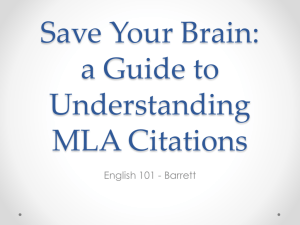 Saving Your Brain: A Guide to Understanding MLA Citations