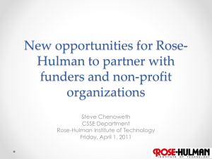 New opportunities for Rose-Hulman to partner with funders and non