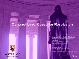 Contract Law: Cause for Rescission