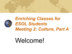 Class Meeting Two: Culture, Part A