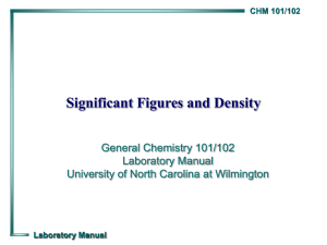 Significant Figures and Density - University of North Carolina