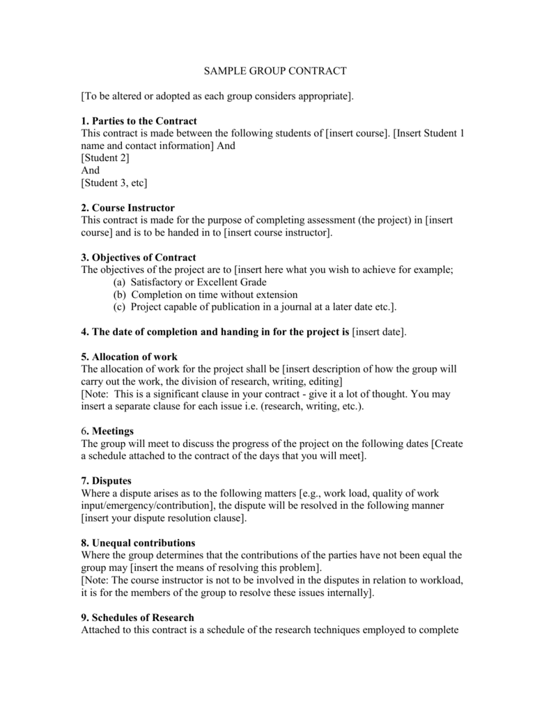 Sample Group Contract Handout