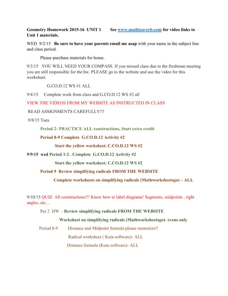 Geometry Homework 2015-16 UNIT 1 See www mathizaverb com
