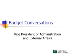 Budget Conversations - Utah Valley University
