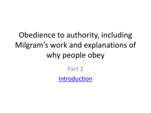 Milgram and Obedience