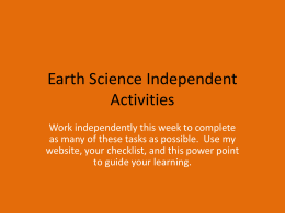 Earth Science Independent Activities