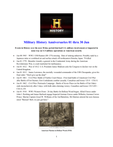 Military History Anniversaries 0601 thru 0630
