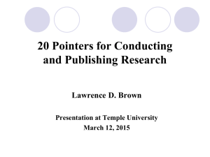 20 Pointers for Conducting and Publishing Research