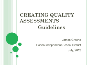 Quality Assessment Part 1 - Harlan Independent Schools