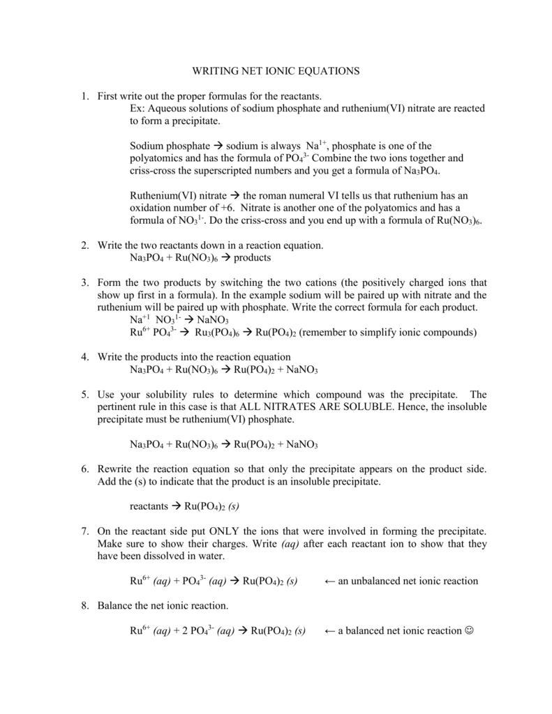 Worksheets Net Ionic Equations Worksheet writing net ionic equations first write out the proper formulas