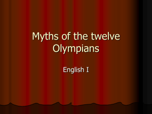 Myths of the twelve Olympians - Nutley Public School District