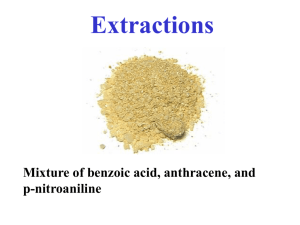 Extractions Mixture of benzoic acid, anthracene, and p